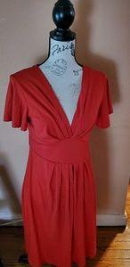 Red short sleeve v neckline dress